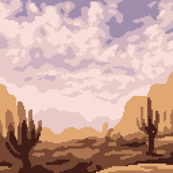 Trockene wüste der pixelkunstszene