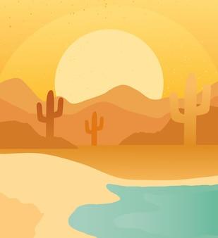Trockene wüste mit abstrakter landschaftsszene des strandes