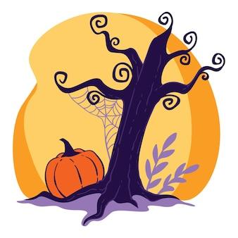 Trockener baum mit spinnennetz und pflanzenlaub, kürbis auf dem boden. beängstigende landschaft der natur am abend oder in der nacht. gruseliger oktobertag, saisonale halloween-feiertagsfeier, vektor in der wohnung