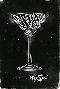 Trockener martini-cocktail mit beschriftung auf tafelart