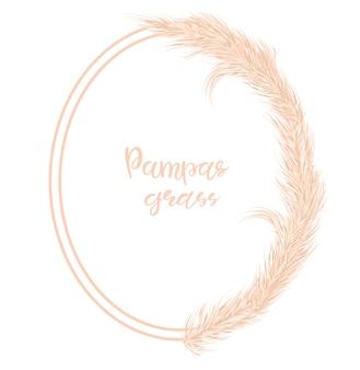 Trockener pampasgrasrahmen. dekor von einladungen, postkarten im boho-stil. vektor-illustration.