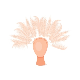 Trockenes pampasgras in einer vase innenvasenkopf dekor