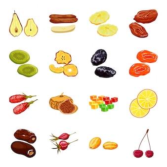 Trockenfrüchte-karikaturikone setvector-illustrationslebensmittel auf weißem hintergrund. getrennte gesetzte trockene frucht der karikaturikone.