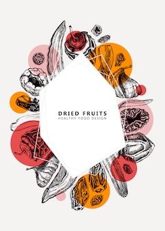 Trockenfrüchte und beeren im trend. weinlese dehydrierte fruchtschablone. gesundes dessert - getrocknete mango, melone, feige, aprikose, banane, persimone, datteln, pflaume, rosine. moderner collagenhintergrund