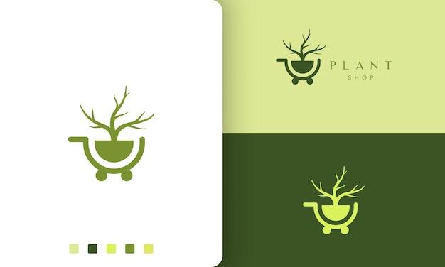 Trolley-logo für natur- oder bioladen im schlichten und modernen stil