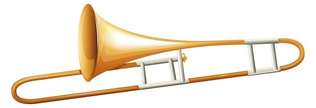 Trombone auf weißem hintergrund