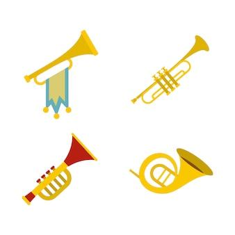 Trompete-icon-set. flacher satz der trompetenvektor-ikonensammlung lokalisiert