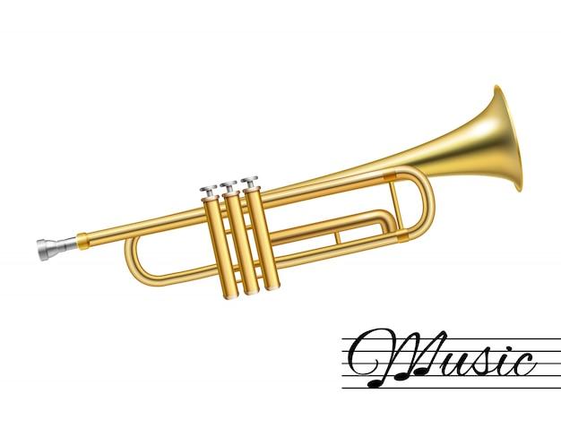 Trompete, isoliert auf weiss