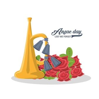 Trompete und schöne mohnblumen