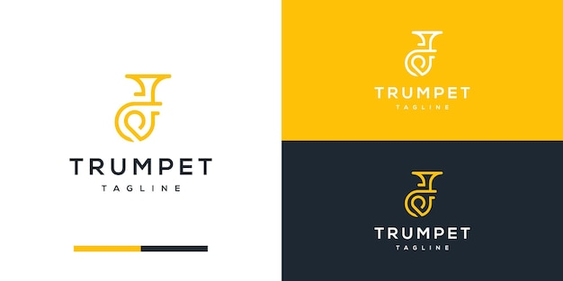 Trompeten-logo-design mit anfänglicher p-inspiration