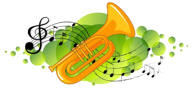 Trompetenmusikinstrument mit melodiesymbolen auf grünem fleck Kostenlosen Vektoren