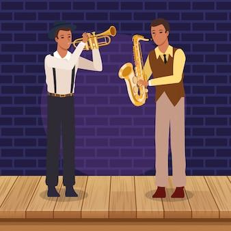 Trompeter und saxophonist, jazzmusikband
