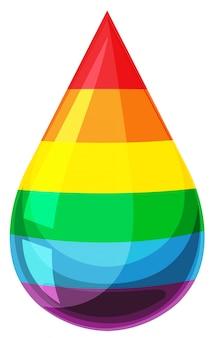 Tropfen der flüssigkeit mit regenbogenfarben