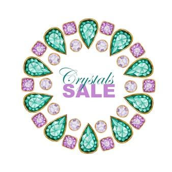 Tropfen-, quadratischer und runder kristalledelstein mit goldenem elementkreisrahmen.