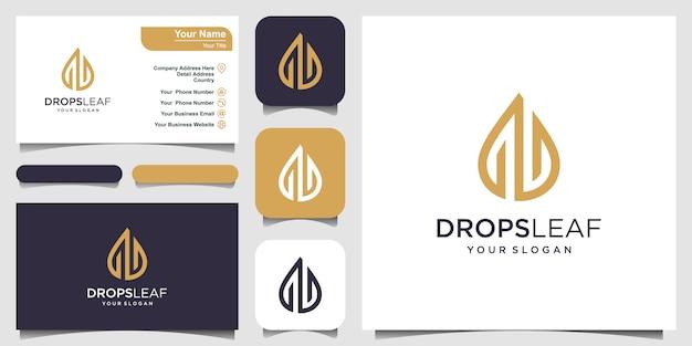 Tropfen und wasser vektor-logo mit strichzeichnungen. logo-design und visitenkarte