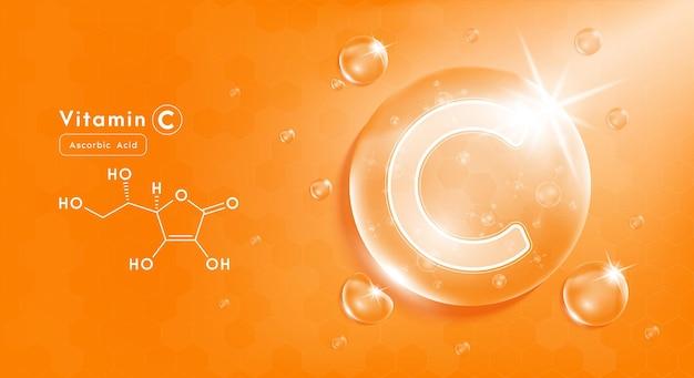Tropfen wasser vitamin c orange und struktur vitaminkomplex mit chemischer formel aus der natur
