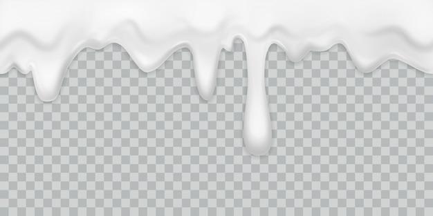 Tropfencreme. milchjoghurt, der weißen sahnerand mit tropfen gießt, trinken dessert mayonnaise fließen isoliert cremig