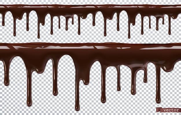 Tropfende schokolade. tropf schmelzen. 3d realistisches, nahtloses muster
