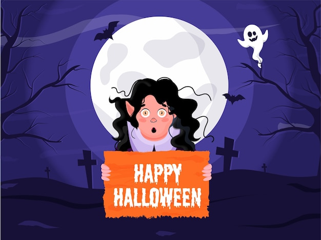 Tropfender schriftzug von happy halloween mit cartoon witch