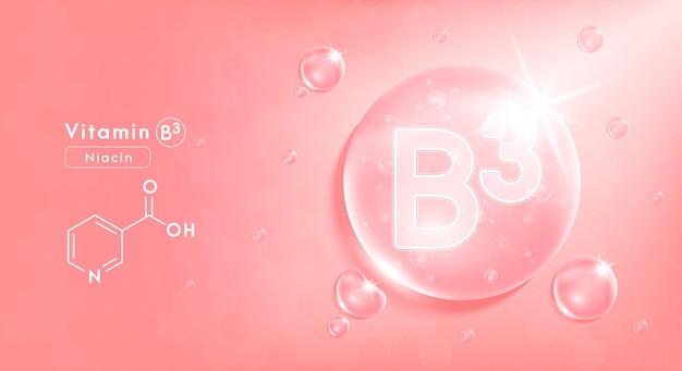 Tropfenwasser vitamin b3 rosa und struktur vitaminkomplex mit chemischer formel aus der natur