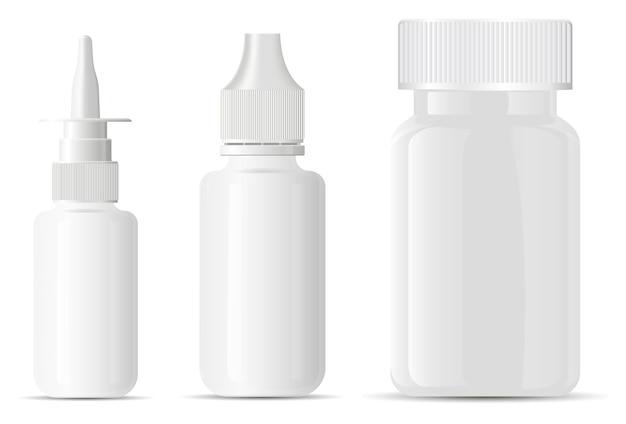 Tropfflasche für die nase. ergänzung pille paket. 3d