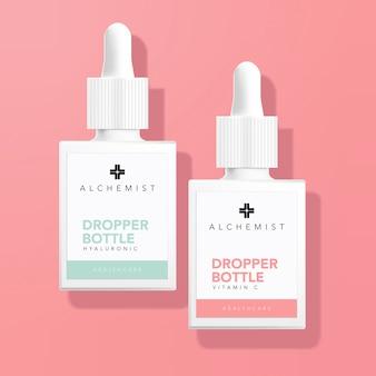 Tropfflasche für medizinische gesundheitstherapie im rosa hintergrund