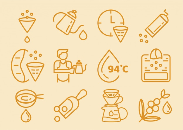 Tropfkaffee-symbol mit filterpapier