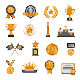 Trophäe und Auszeichnungen Icons Set