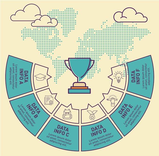 Trophäe infographik vorlage vektor-design