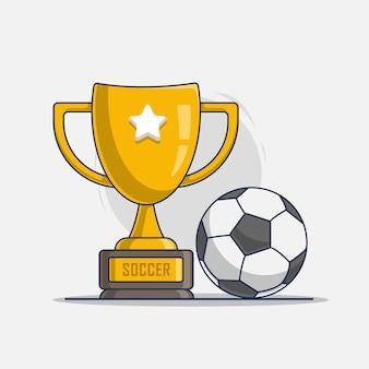 Trophäe mit sportfußballikonenillustration