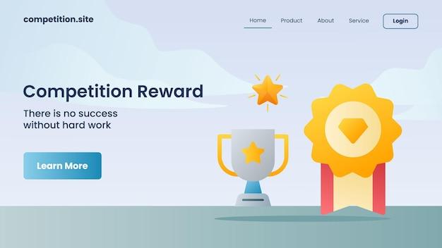Trophäe und goldene medaille für wettbewerbsbelohnung mit slogan es gibt keinen erfolg ohne harte arbeit für die website-vorlage, die homepage-vektorillustration landet