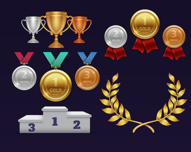 Trophäe vergibt goldpokal und goldenen lorbeerkranz, medaillen und sportpodium