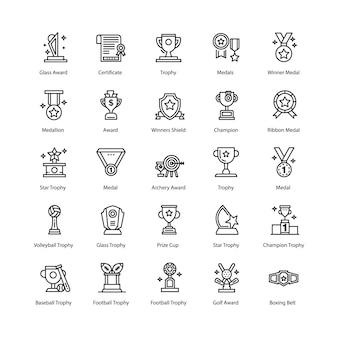 Trophäen und auszeichnungen icons pack