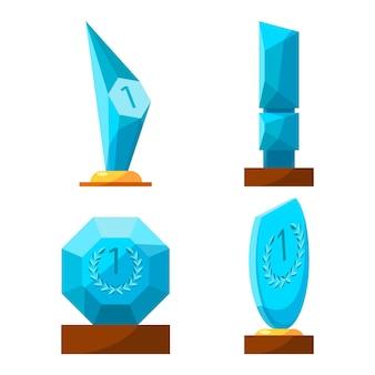 Trophäenglas vergibt sammlungsbelohnungen der verschiedenen form, die auf weiß lokalisiert werden. plakat der siegerpokale mit der nummer eins, belohnung mit kreis, ovaler, dreieckiger trophäe auf holzsockel