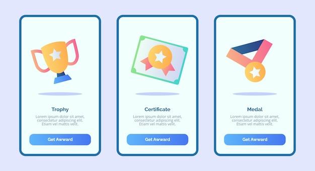 Trophäenzertifikatsmedaille für die benutzeroberfläche der banner-seite für mobile apps