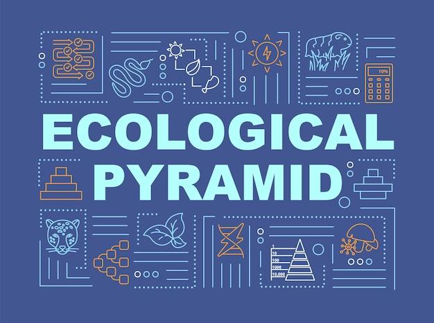 Trophische pyramide wortkonzepte banner. biodiversität, produzenten und konsumenten bevölkerung. infografiken mit linearen symbolen auf blauem hintergrund. isolierte typografie. vektorumriss rgb-farbabbildung