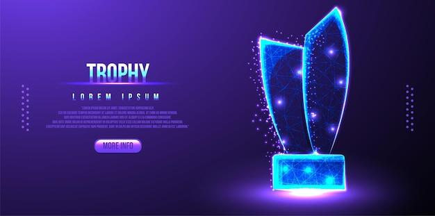 Trophy award, champion abstraktes low-poly-drahtgitter-mesh
