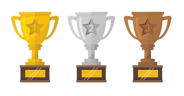 Trophy cup auf dem siegerpodest.
