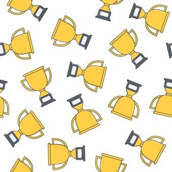 Trophy cup nahtloses muster auf einem weißen hintergrund. gewinner-preis-symbol-vektor-illustration