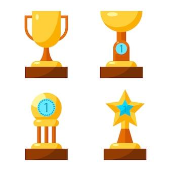 Trophy golden awards sammlung von vier tassen auf weiß. plakat des siegerbechers mit griffen, flacher becher mit nummer eins, belohnung mit kreis auf drei säulen und in form eines sterns aus gold