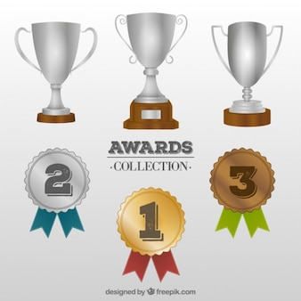 Trophy und medaillensammlung Premium Vektoren