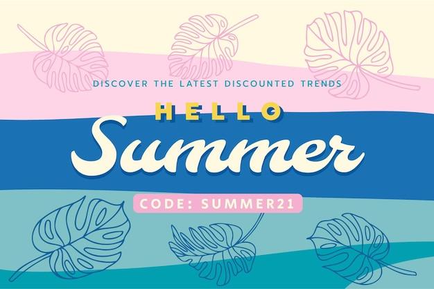 Tropical pastell rabatt sommer banner sommer ende der saison