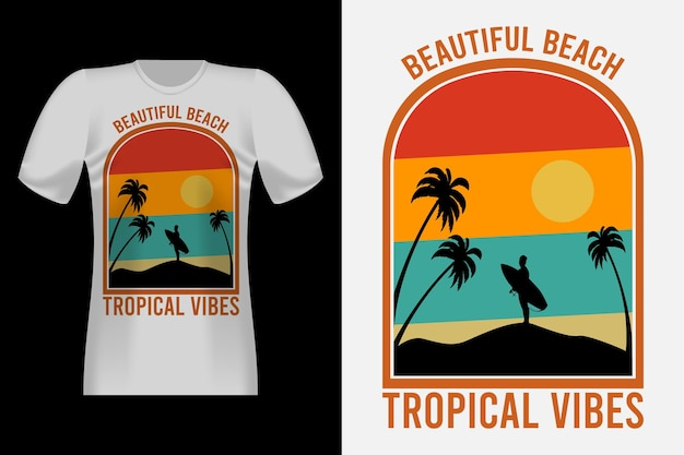 Tropical vibes mit silhouette vintage retro t-shirt design