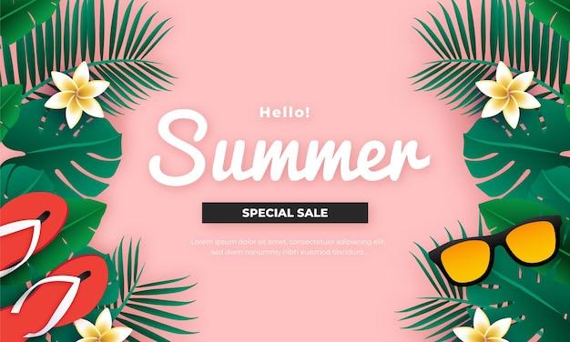 Tropical vibes sommer sale banner design