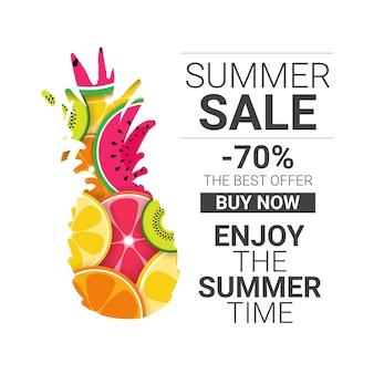 Tropische ananas früchte bunt genießen sommerschlussverkauf bio