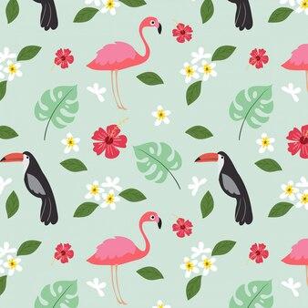 Tropische anlage des sommers und nahtloses muster des vogels