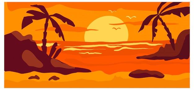 Tropische ansichtslandschaft, heißes landwildstrandroter sonnenuntergangkonzeptwaldhintergrundnaturfahnen-karikaturillustration. ocean strandplatz.