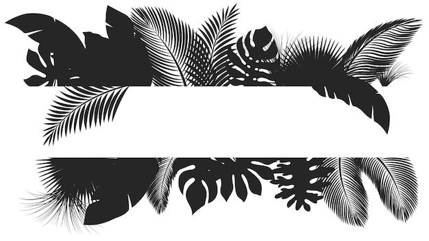 Tropische blätter der schattenbildfahne