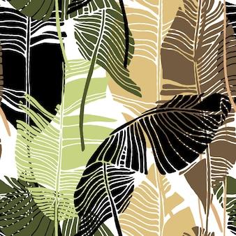 Tropische blätter, dschungelmuster. nahtloses, ausführliches botanisches vektormuster mit banane