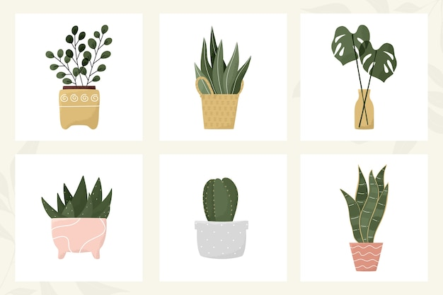 Tropische blätter im topf, kaktus, aloe, sukkulente, moderne zimmerpflanzendekoration der blumenvase